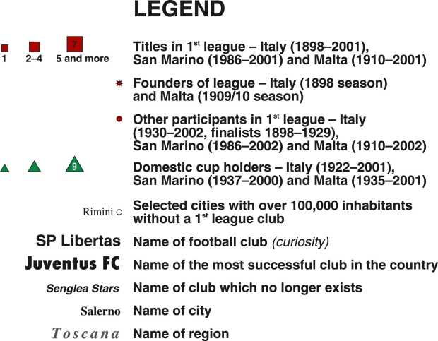 The first world atlas of football italy legend of map regional map of italy san marino and malta legend of map gumiabroncs Images